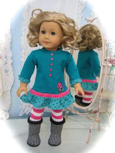 Tshirt dress made to fit 18 inch American Girl Doll by MenaBella