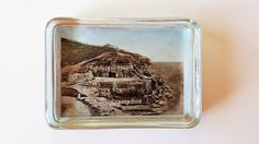 Antique Glass Paperweight Depicting Tilly Whim Caves Swanage, Vintage Edwardian 1900s Paper Weight, Rectangular Old Photo Picture, England by darcyelizavintage on Etsy