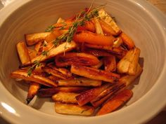 Roasted Parsnips and Carrots with thyme. Delicious.