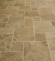 BuildDirect – Travertine Tile - Antique Pattern Sets – Volcano Standard - Multi View THIS in Versailles or Flemmish Bond pattern. Flooring, Travertine Floor Tile, Kitchen Flooring, Travertine Tile, Cool House Designs, House Flooring, Stone Flooring, Patterned Floor Tiles, Kitchen Floor Tile
