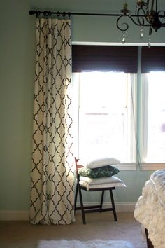 "I cannot belived I found a possible answer about curtains for my walk-in closet/dressing room!.  In addition, a beautiful ""pop"" to add to the new curtains for my master bedroom!  From Design Studio Stenciled Curtains (Knock-off Ballard Designs)  on the blog Home Stories A to ZCreating beauty out of chaos one story at a time"