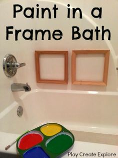 via Play Create Explore: Paint in a Frame: Art Bath This is a GREAT indoor activity for those COLD days! Throw em in the bath tub~! Indoor Activities, Craft Activities For Kids, Infant Activities, Projects For Kids, Crafts For Kids, Fun Crafts, Best Bath, Learning Through Play, Toddler Fun