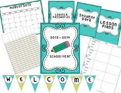 Teacher Binder and Classroom Decor- get organized for the new school year- binder inserts, grading record sheets, plan book pages, welcome banner, table numbers, schedule cards, nameplates and more! $