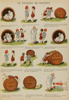Le tonneau de Diogène dans Images enfantines. Paris ; Quantin ; [1886]. Punch Magazine, Peanuts Comics, Images, Cartoons, Facts, Animation, Animals, Barrel Roll, Cartoon