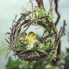 Factory Direct Craft® Natural Twig Wreath with Greenery Bird Nest & Sweet Artificial Birds Twig Crafts, Nature Crafts, Twig Wreath, Wreath Hanger, Bird Nest Craft, Bird In Nest, Bird Nests, Artificial Birds, Decoration Originale