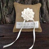 Personalized Burlap Ring Bearer Pillow, Ring Pillow, Wedding Date, Rings, Ring Cushion, Burlap Wedding, Burlap Ring Bearer Pillow