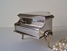 Vintage Silver Plate Piano Trinket Jewelry Box by cynthiasattic, $59.00