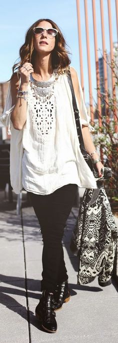 Free People Black And White Ethnic Print Quilted Bomber Jacket