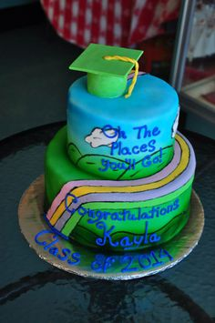 Dr. Suess Graduation Cake. Oh The Places You'll Go!