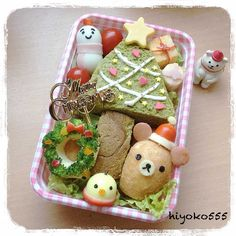Another festive lunch box with green tea bread sandwich