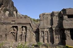 Ellora caves in Aurangabad are famous group of caves. It is a UNESCO heritage site. Timings: To get information, history lovers can visit between. Indian Temple Architecture, Ancient Architecture, Art And Architecture, Places Around The World, Around The Worlds, Ajanta Ellora, Temple Ruins, Ancient Civilizations, List