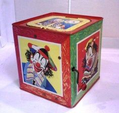 """1950s Mattel Jack In The Music Box toy"" ~ The author writes, ""We have one of these Jack-in-the-Music-Box toys. Ours shows stock number 507 with patents in Canada from 1951 and 1953. The outside of the box boasts: MATTEL INCORPORATED, LOS ANGELES, CALIF. Also on the outside, credits are given to the music arranger, Ted Duncan, and to Louis Song for the decor."" http://www.blippee.com/blog/all-toys/mattel-toy-factory-in-the-1950s"