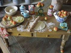 dollhouse miniature, farmhouse table handmade in pine, making apple pie, dollhouse food 1/12 scale , miniature furniture