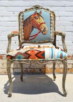 *Navajo Needlepoint Horse Arm Chair