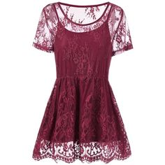 Plus Size Floral Lace Peplum Blouse (33 BAM) ❤ liked on Polyvore featuring tops, blouses, purple blouse, lace peplum top, floral blouse, lace peplum blouse and purple plus size tops