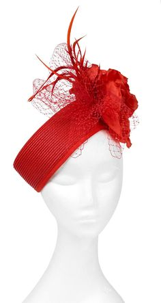 Red pillbox hat