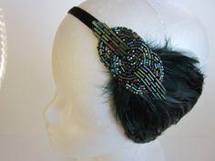 1920s Headband Great Gatsby Headband Wedding Party 1920s Art Deco Flapper Emerald Green Beaded Feather Headband