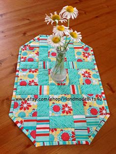 HandmadeBits4U: Blue Red and Yellow Table Runner Or Placemat