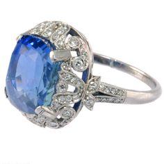 11.78 Carat Blue Sapphire Diamond Platinum Ring