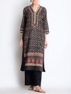 Buy Black Rust Red Daabu Printed V Neck Cotton Kurta Online at Jaypore.com