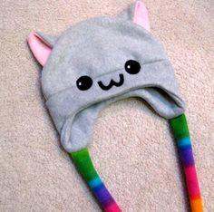 NYAN CAT fleece hat - cute kawaii anime kitty rainbow poptart tart