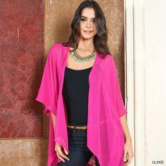 Negro y fucsia: combinación perfecta. Moda Dupree Kimono Top, Women, Fashion, Vibrant Hair Colors, Hot Pink, Seasons, Black, Moda, Fashion Styles