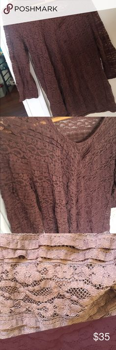 Anthropologie Flowy lace long sleeve Beautiful and delicate lace long sleeve in perfect condition, looks great with leggings and boots! Tops Blouses
