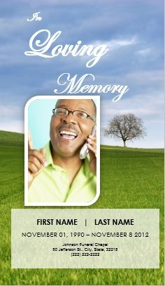 Printable Funeral Announcement Template Card. Tree of Life Theme Funeral Order of Service Bulletin. Obituary Template for Microsoft Word and more Funeral Service Memorial Templates available at funeralpamphlets.com