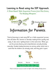 Learning to Read using a Skills Acquisition Process - The Speech Sound Pics Approach (SSP) Increasing white matter, wiring ALL brains for reading and spelling. Teaching Reading, Teaching Ideas, Learning, Literacy And Numeracy, White Matter, Learn To Read, Phonics, Homework, Spelling