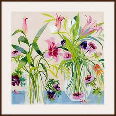 Buy Annabel Fairfax - Jugs of Flowers, Dark Brown Framed Print, 40 x 40cm Online at johnlewis.com