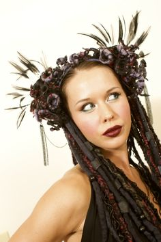 headdress, headdresses, wig, dreads, dreadfalls, tribal, tribal headdress, goth, gothic, witch, witchy, goddess, gypsy, festival wear, burlesque, faery, fairy, faerie, fantasy, burningman, queen, woodland faery, nymph, lotuscircle, www.etsy.com/shop/lotuscircle