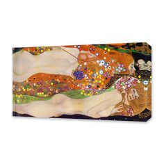 """The Masters Event : Gustav Klimt // Water Serpents II // 1907 / 18""""Wx18""""Hx0.75""""D; $54.99 ($125) / 30""""Wx30""""Hx1.5""""D; 79.99 ($170) / A pc of art becomes iconic; famous for its history, context, style, or intrigue surrounding its creator. Classic pcs in this collection run gamut from Neo-Impressionism to Cubism, Japanese woodblock printing & everything in betw. Choose from master works by van Gogh, Monet, Hokusai, Klimt, Gris, Munch, Seurat & Rousseau exquisitely reproduced on quality canvas."""