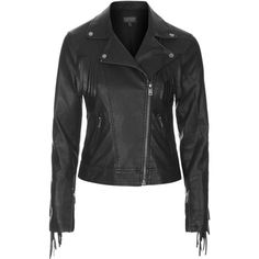TOPSHOP Fringe Faux Leather Biker Jacket ($37) ❤ liked on Polyvore featuring outerwear, jackets, black, black moto jacket, black jacket, vegan leather jacket, faux leather jacket and motorcycle jacket