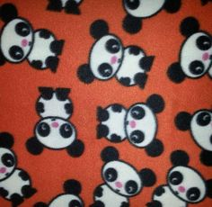 Blizzard Fleece Fabric-Panda On Orange, , hi-res