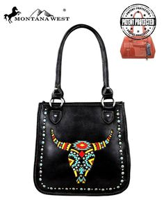 Montana West Western Handbag Purse Conceal Carry CCW Longhorn Embroidery Black  #MontanaWest #ShoulderBag