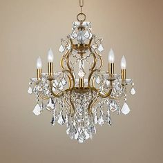 Radiant in more ways than one, this antique gold and crystal six-light chandelier puts a signature design stamp on your custom space. high x wide. Canopy is 5 wide x high. Style # at Lamps Plus. Gold Chandelier Bedroom, Classic Chandeliers, Chandelier Design, Crystal Chandelier, Interior Lighting Ceiling, Traditional Chandelier, Chandelier, Chandelier Shades, Bathroom Chandelier