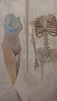 Szostkiewicz  Ludzka materia / human material [z cyklu:Tempus fugit- Memento Mori] olej,akryl,deski/oil,acrylic,boards 83x144 cm 2012
