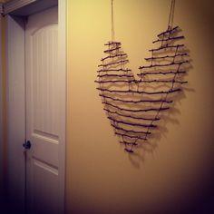 DIY Heart stick decor