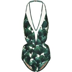 Adriana Degreas Bonsai Green Ginkgo Swimsuit found on Polyvore featuring swimwear, one-piece swimsuits, swim, sheer one-piece swimsuits, halter swimsuit, see through swimsuit, green one piece swimsuit and swim suits
