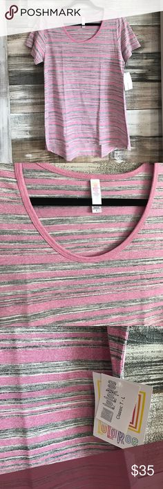LuLaRoe Pink & Grey Striped Classic Tee NWT. LuLaRoe Heathered Gray and pink striped Classic Tee. LuLaRoe Tops Tees - Short Sleeve