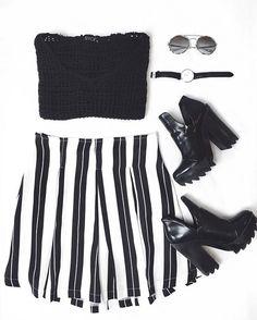 Black and White, preto e branco , fashion, moda, listras, stripes, boots, preto, crochet, preto , glasses, watch, cluse