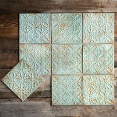 Get your Park Hill Collection Antique Green Color Tin Ceiling Tile from Elizabeth's Embellishments, one of our many wall accents for the home. Tin Tile Backsplash, Tin Tiles, Rustic Backsplash, Rustic Tiles, Backsplash Ideas, Antique Farmhouse, Or Antique, Antique Tiles, Antique Decor