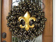 Gold & Black Fleur De Lis Mesh Wreath SAINTS by lesleepesak, $57.50