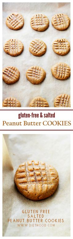 Gluten Free Salted Peanut Butter Cookies – Made with just a few ingredients, these Peanut Butter Cookies are fudgy, sweet & salty, gluten free and naturally sweetened!