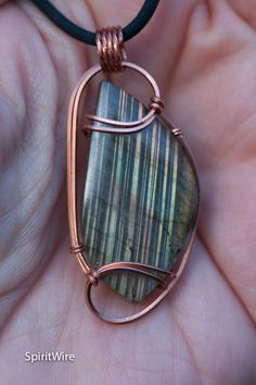 Yellow Orange Flash Labradorite Pendant Copper Wire Wrapped