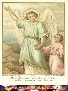 Look up artist Holy Card, undated by Sam Fam Catholic Art, Religious Art, Religious Sayings, Gardian Angel, Guardian Angel Pictures, Vintage Holy Cards, Religion Catolica, Religious Pictures, Angels Among Us