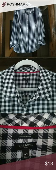 Black and White button down Talbots woman size 22w Talbots Tops Button Down Shirts