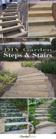DIY Garden Steps and Stairs A round-up with great ideas & tutorials of step and stair projects for the garden and yard! DIY Garden Steps and Diy Garden, Garden Paths, Potager Garden, Garden Care, Terrace Garden, Outdoor Projects, Garden Projects, Diy Projects, Outdoor Steps