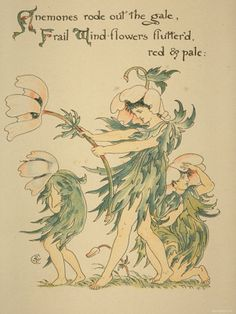 Anemones Rode Out Gale/Frail Wind Flowers Fluttered Red and Pale, Written and Drawn by Walter Crane
