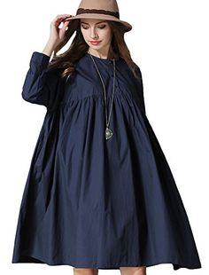 Mordenmiss Women's 2016 New Cotton Loose Round Collar Dresses Pleated Blouse Style 1 Navy >>> To view further, visit http://www.amazon.com/gp/product/B01ALODMC2/?tag=clothing8888-20&pza=260716013429